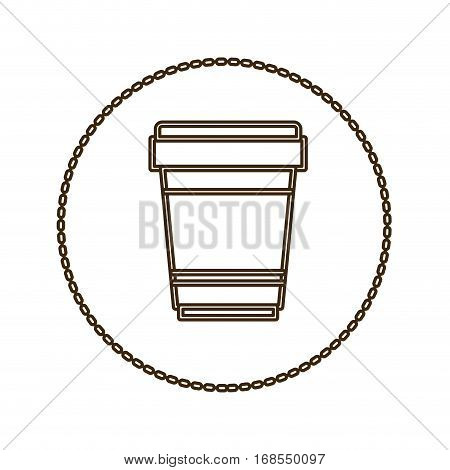 monochrome round contour with disposable glass of cappuccino vector illustration