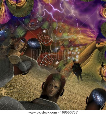 Strange surreal symbolic composition mens minds showing galaxy, another with puzzle face man, egg shape with question mark, and liquid dripping, while another has ideas float above in light  3D Render