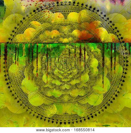 Mandala and multi-layered spaces.  3D Render