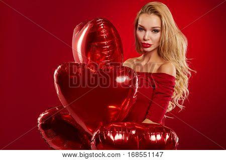 Pretty Girl Holding red Hart box - Happy Valentine