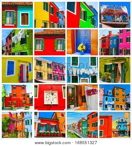 Collage from images of Burano, Venice, Italy