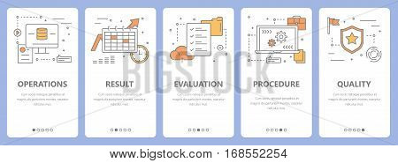 Vector set of audit concept vertical banners. Operations, result, evaluation, procedure and quality concept elements. Thin line flat design symbols, icons for website menu, print.