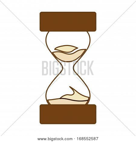 brown stop watch and hourglass icon design, vector illustration
