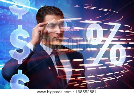 Businessman in high interest rate concept