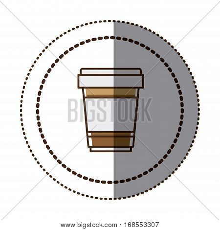 color sticker in circular frame with disposable glass of cappuccino close up vector illustration