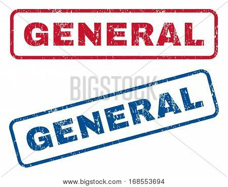 General text rubber seal stamp watermarks. Vector style is blue and red ink caption inside rounded rectangular shape. Grunge design and dust texture. Blue and red signs.