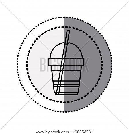 monochrome sticker contour in circular dot line with disposable glass of cappuccino with straw vector illustration