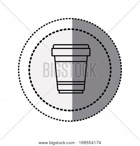 monochrome sticker contour in circular dot line with disposable glass of cappuccino vector illustration