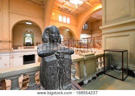 CAIRO, EGYPT - 02 JANUARY 2016 : Tutankhamen's jewelery in Egyptian Museum in Cairo. They are main attraction objects of the Museum.