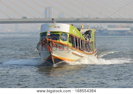 BANGKOK, THAILAND - DECEMBER 12, 2016: Fixed-route passenger boat