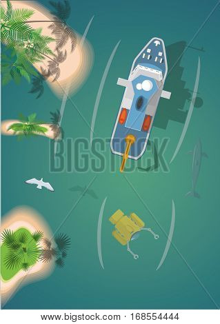 Research Ship And Submarine. Top View Vector Illustration.