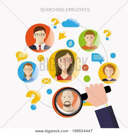 Employee Search Flat Design Infographic Image.