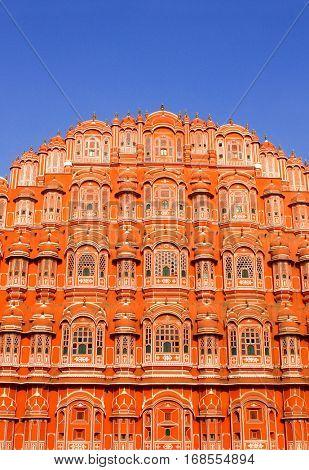 Famous landmark Hawa Mahal (Palace of Winds, Palace of the Breeze), Jaipur, India