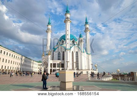 KAZAN, RUSSIA - APRIL 30, 2016: Sunny April day in the Kazan Kremlin. The Kul Sharif Mosque