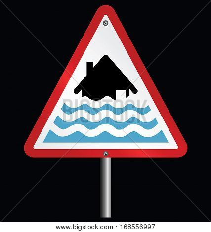 Severe flood alert warning sign fixed to post isolated on black background