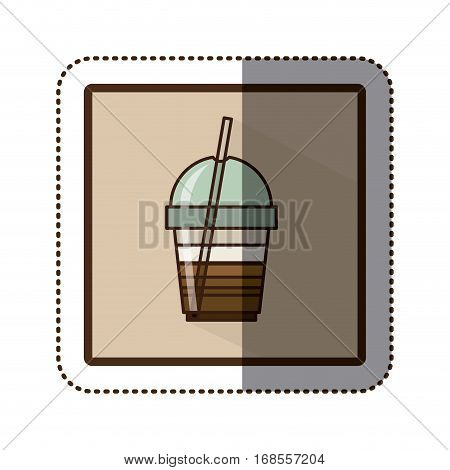 color sticker silhouette in square frame with disposable glass of cappuccino with straw vector illustration