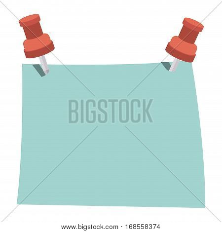 blue note with red tack element office vector illustration