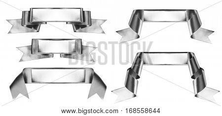 Silver banners with metal plates with copy space for text isolated on white background