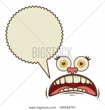 face cartoon gesture with dialogue scream callout vector illustration