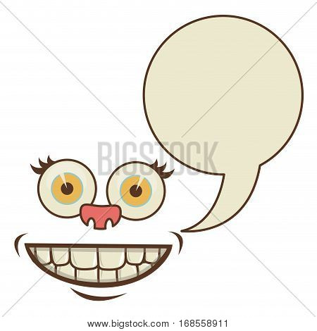 face cartoon gesture with dialogue callout box vector illustration