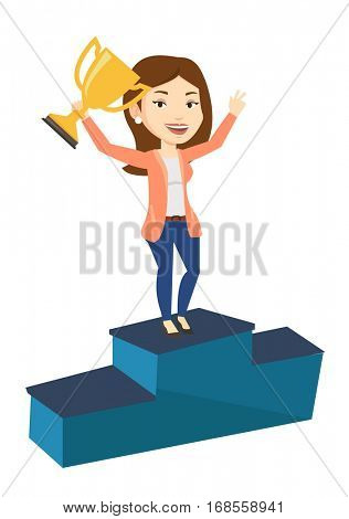 Caucasian businesswoman with business award standing on a pedestal. Businesswoman celebrating her business award. Business award concept. Vector flat design illustration isolated on white background.