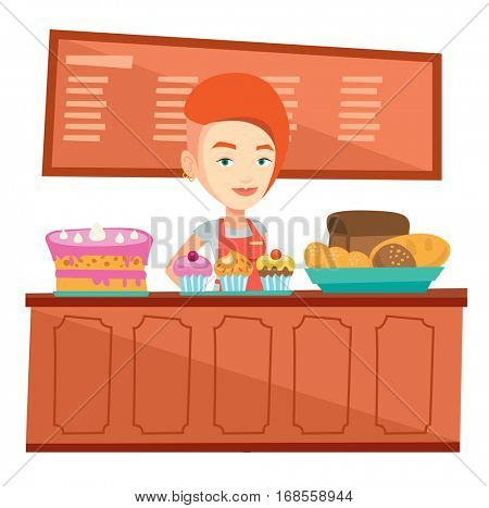 Caucasian female bakery worker offering pastry. Female bakery worker standing behind the counter with cakes. Woman working at the bakery. Vector flat design illustration isolated on white background.