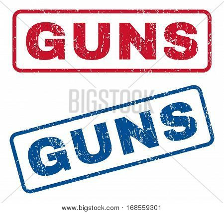 Guns text rubber seal stamp watermarks. Vector style is blue and red ink caption inside rounded rectangular shape. Grunge design and scratched texture. Blue and red stickers.