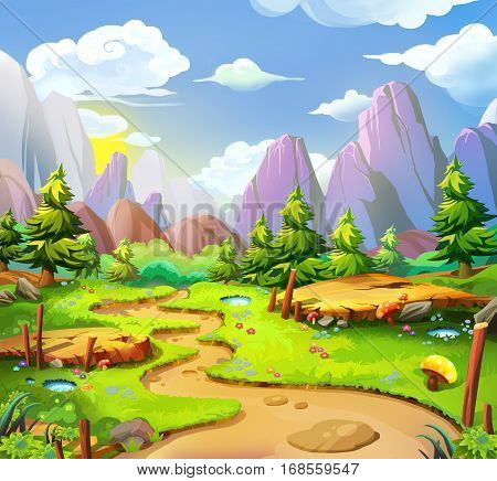 The Fairy Land. Video Game's Digital CG Artwork, Concept Illustration, Realistic Cartoon Style Background