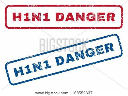 H1N1 Danger text rubber seal stamp watermarks. Vector style is blue and red ink caption inside rounded rectangular shape. Grunge design and dirty texture. Blue and red stickers.