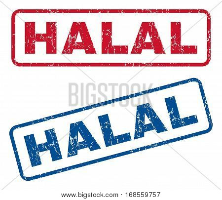 Halal text rubber seal stamp watermarks. Vector style is blue and red ink tag inside rounded rectangular banner. Grunge design and dirty texture. Blue and red emblems.