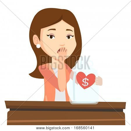 Worried bankrupt business woman looking at empty money box. Upset bankrupt sitting at the table with empty money box. Bankruptcy concept. Vector flat design illustration isolated on white background.