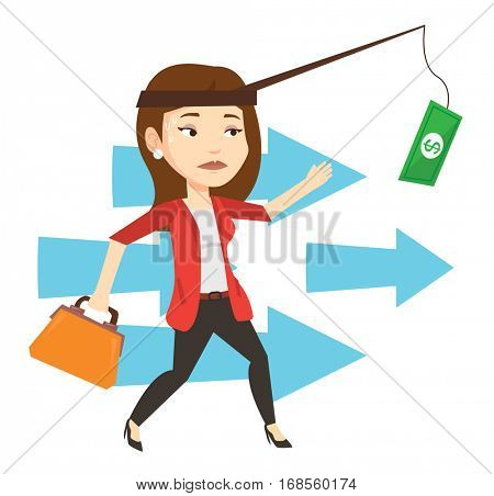 Money on fishing rod as motivation for woman. Business woman motivated by money hanging on fishing rod. Concept of business motivation. Vector flat design illustration isolated on white background.