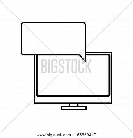 silhouette tech screen computer in wide flat dialogue callout box vector illustration