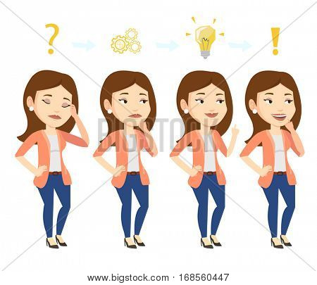 Young businesswoman during business planning. Caucasian businesswoman working on a new business plan. Concept of business planning. Vector flat design illustration isolated on white background.