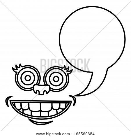 silhouette face cartoon gesture with dialogue callout box vector illustration