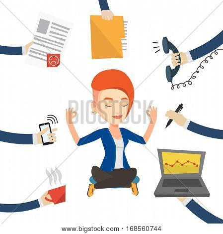 Caucasian hard working business woman. Young business woman surrounded by many hands that give her a lot of work. Concept of hard working. Vector flat design illustration isolated on white background.
