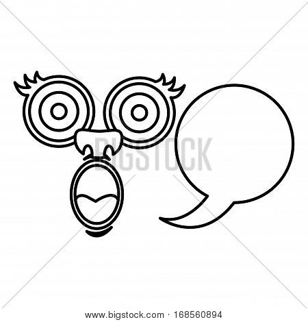silhouette face cartoon gesture with dialog circular box vector illustration