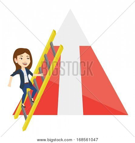 Business woman climbing the ladder. Business woman climbing on mountain with arrow going up. Woman climbing upward on the top of mountain. Vector flat design illustration isolated on white background.