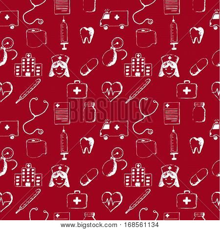 Red seamless pattern-medical items. This illustration is drawn with a pencil.