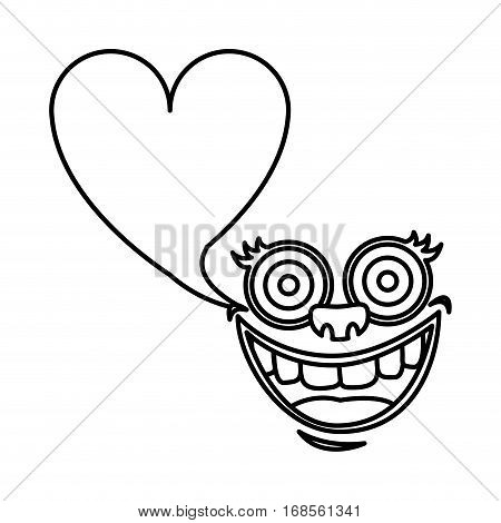 silhouette face cartoon gesture with dialog heart shape box vector illustration