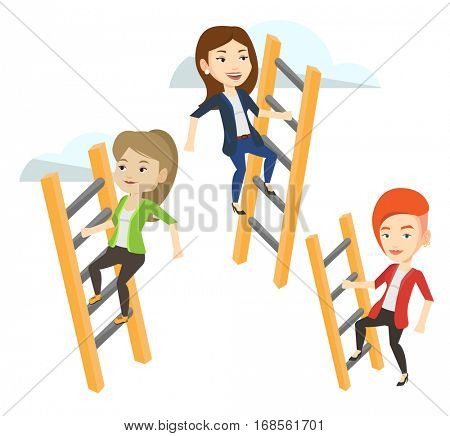 Business people climbing the ladders. Businesswomen climbing on cloud. Businesswomen climbing to success. Competition in business concept. Vector flat design illustration isolated on white background.