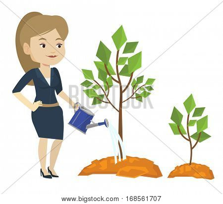 Caucasian business woman watering trees of three sizes. Young businesswoman watering plants. Business growth and investment concept. Vector flat design illustration isolated on white background.