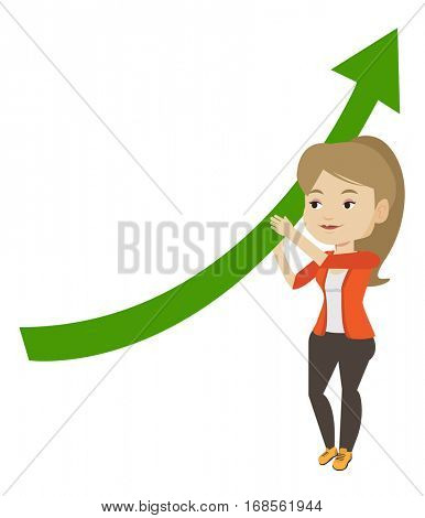 Business woman holding graph going up. Business woman with growth graph. Business woman changing the path of graph to a positive increase. Vector flat design illustration isolated on white background.
