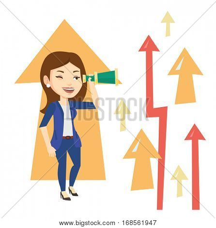 Business woman looking through spyglass on arrows going up symbolizing business opportunities. Business vision and opportunities concept. Vector flat design illustration isolated on white background.