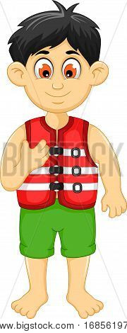 cute boy cartoon wearing life jacket for you design