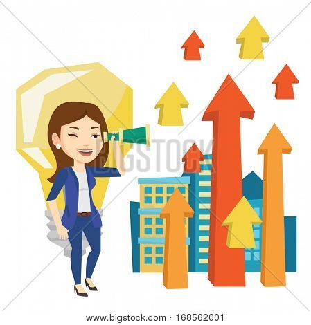 Business woman looking through spyglass at arrows going up and idea bulb. Business woman looking for creative idea. Business idea concept. Vector flat design illustration isolated on white background.