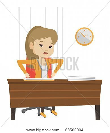 Businesswoman hanging on strings like a marionette. Woman marionette on ropes sitting in office. Emotionless marionette woman working. Vector flat design illustration isolated on white background.
