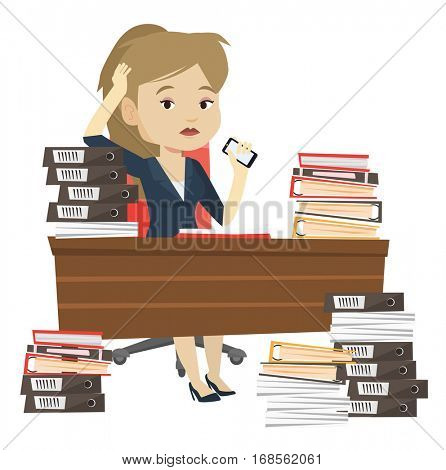 Stressed office worker. Overworked businesswoman feeling stress from work. Stressful employee sitting at workplace. Stress at work concept. Vector flat design illustration isolated on white background