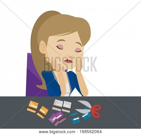 Caucasian businesswoman cutting credit card. Woman sitting at the desk with cut credit card. Woman cutting credit card with scissors. Vector flat design illustration isolated on white background.