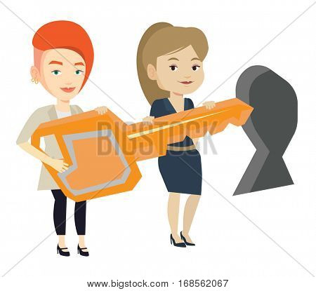 Businesswomen standing in front of keyhole with big key. Business team holding the key to success. Businesswomen carrying huge golden key. Vector flat design illustration isolated on white background.